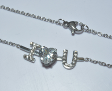 Collar de acero inoxidable i love you con zirconia